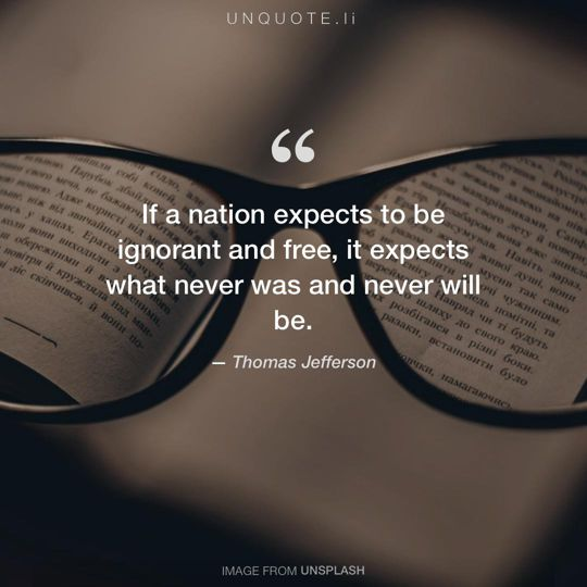 Image from Unsplash remixed with quote from Thomas Jefferson.