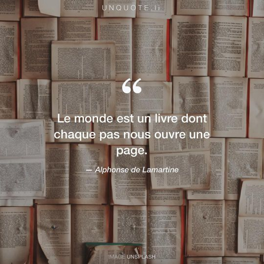 Image d'Unsplash remixée avec citation de Alphonse de Lamartine.