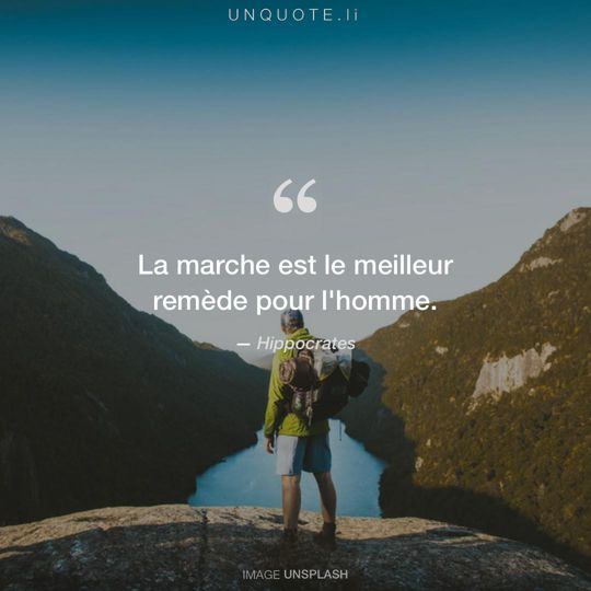 Image d'Unsplash remixée avec citation de Hippocrates.