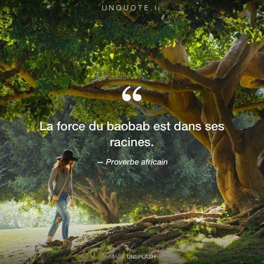 Image d'Unsplash remixée avec Proverbe africain.