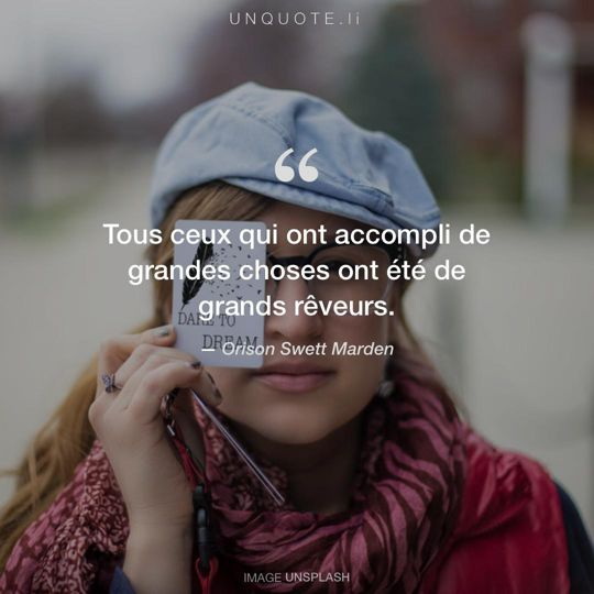 Image d'Unsplash remixée avec citation de Orison Swett Marden.