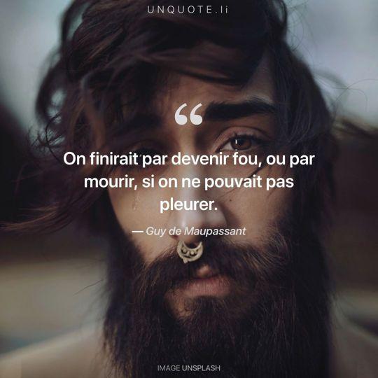 Image d'Unsplash remixée avec citation de Guy de Maupassant.