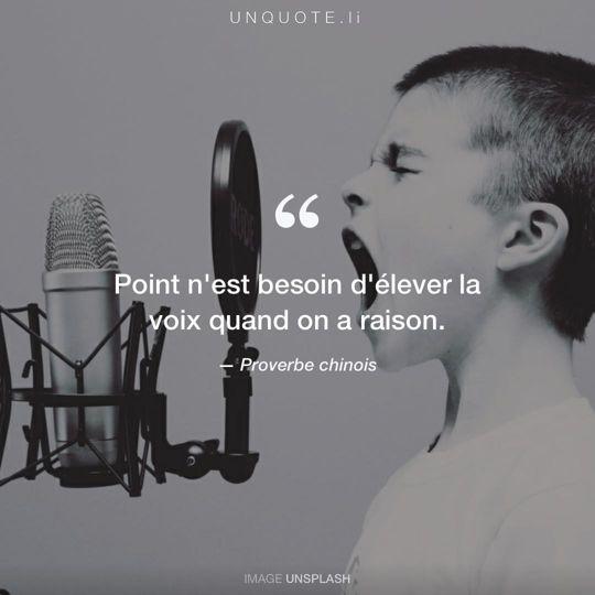 Image d'Unsplash remixée avec Proverbe chinois.