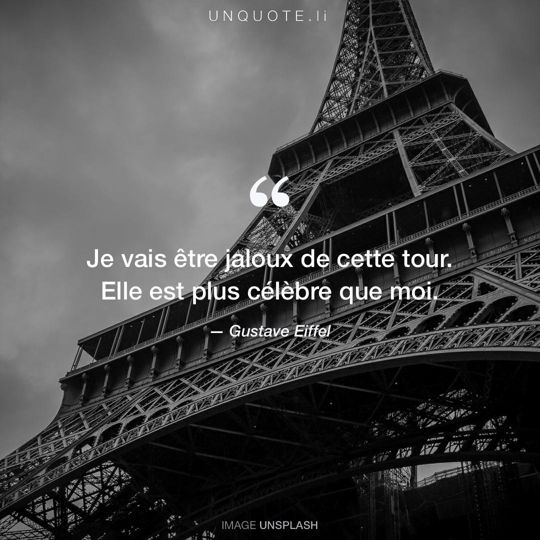Image d'Unsplash remixée avec citation de Gustave Eiffel.