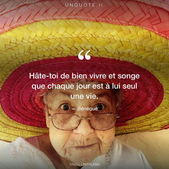 Image d'Unsplash remixée avec citation de Sénèque.