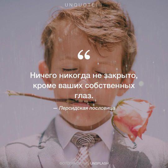 Фотографии от Unsplash Персидская пословица.
